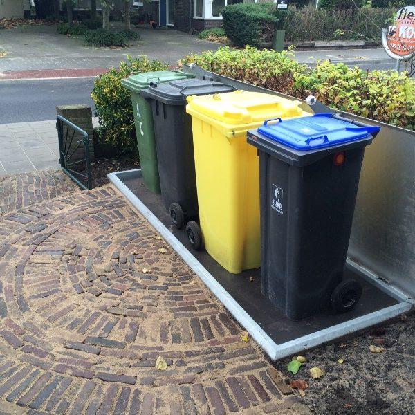 Ondergronds opbergsysteem voor 4 afvalcontainers